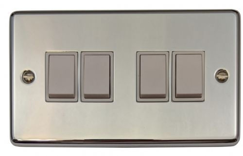 G&H CC4W Standard Plate Polished Chrome 4 Gang 1 or 2 Way Rocker Light Switch